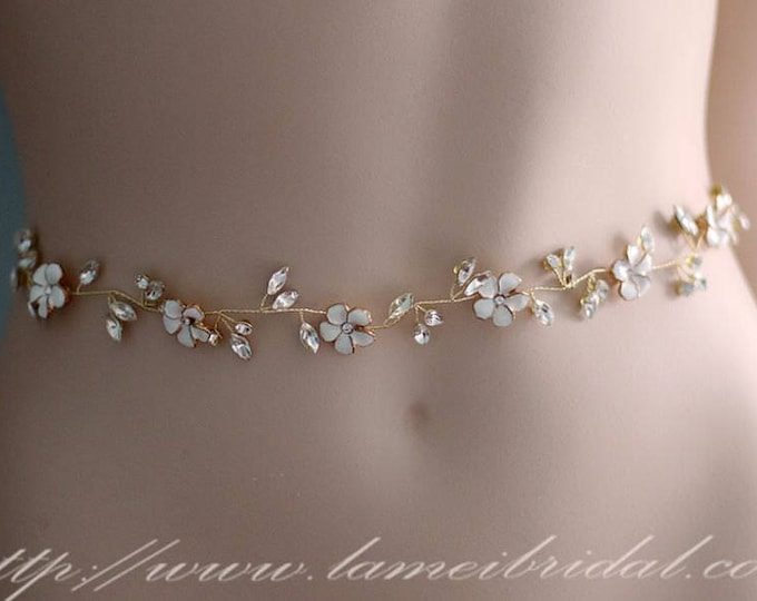 Ready To Ship -Gold Crystal Rhinestone Flower bridal belt, Crystal Belt, Ivory Flower Bridal Sash,Crystal Pearl  Bridal Belt Sash in Golden