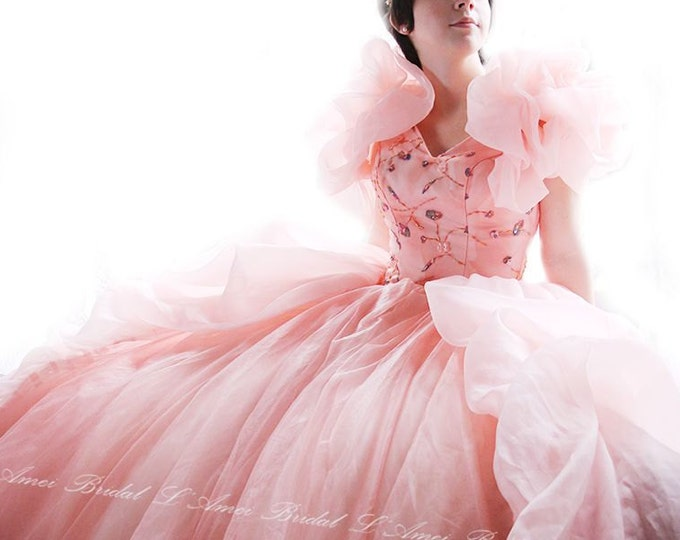 Pink DreamSweetheart Neckline Princess Style Dress with Sweep - Costume Cosplay Wedding Gown Perfect for Photos Parties or any Special Event