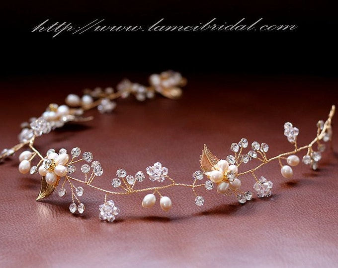 clearance-Golden Tiara Circlet Bridal Wedding Crown made with Rhinestone ,Rustic Wedding Hair Vine of Freshwater Pearls and Brass Flowers