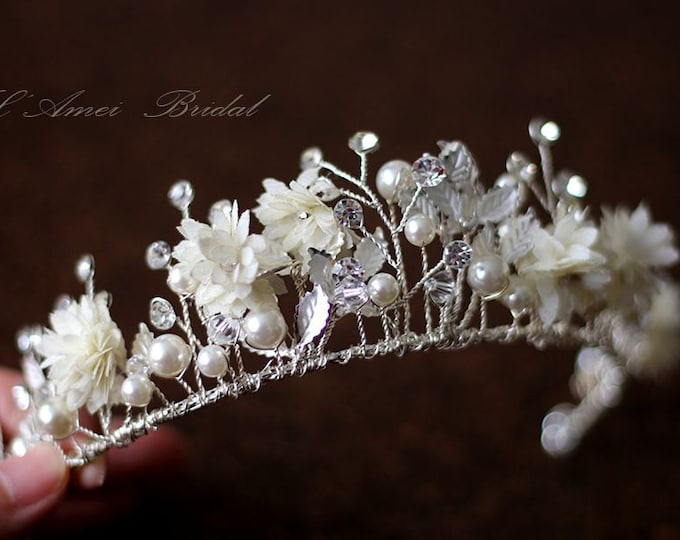 SALE-Small flower Wedding Bridal Crown ,  Silver white Tiara Circlet Headpiece ,Wedding Flower Head Piece, Bridal Crown