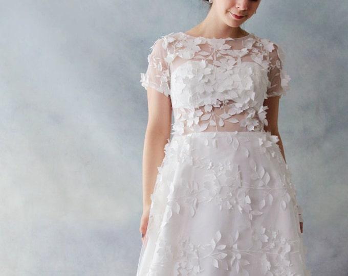 CLEARANCE - US 8-Romantic Elegant Flower Fairy Wedding Bridal Dress, A-Line illusion neckline Lace Flower bridal Gown-TSL1058820