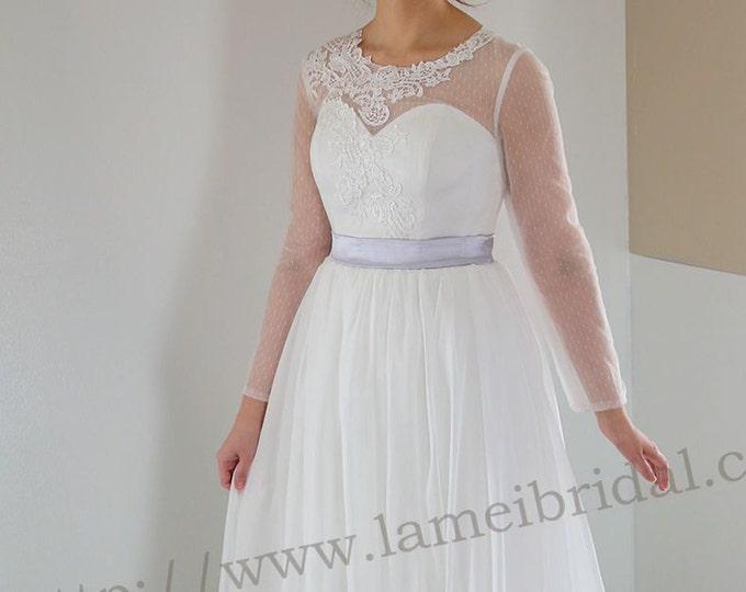 Long Polka Dot Sleeve Wedding Dress with Stunning lace neck and Silk chiffon Skirts- L'Amei 2017