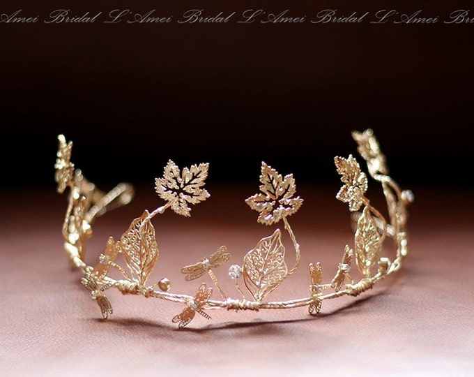 Clearance-Rustic Light Golden Tiara, Gold Bridal leaf crown, Golden leaves Headpiece, Greek Goddess, leaves crown, Woodland Head Wreath
