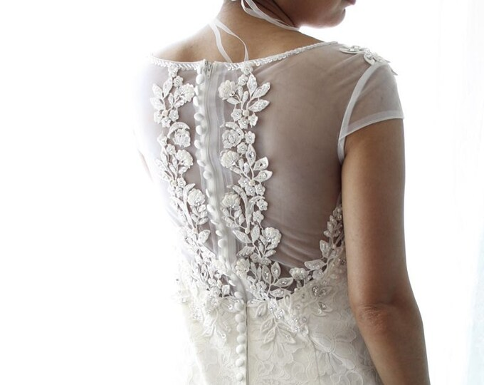 CLEARANCE - Classical and Romantic Mermaid Lace Wedding Bridal Dress with Low Sheer Back and Shoulder Caps Covered by Lace and Bling