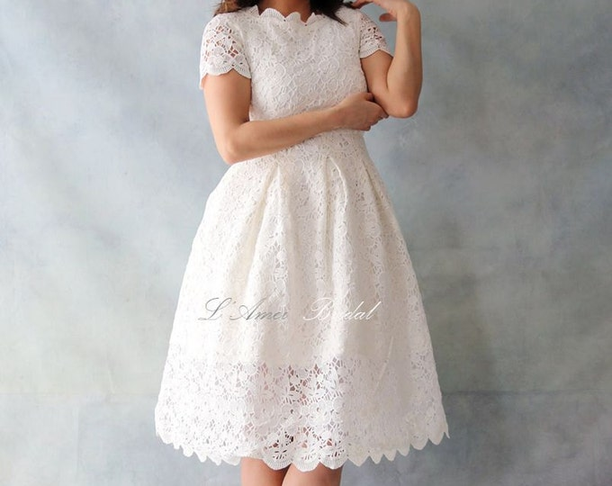 Vintage Style Alice in the Garden Tea Length Cotton Lace Wedding Dress - Knee length white lace dress with short sleeve AM1982795.