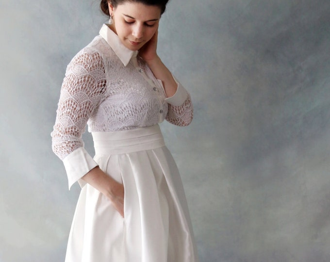 CLEARANCE - Handmade Lace Long Sleeve Ankle Length Ivory White Wedding or Prom Dress with Pockets Long Length  Design by LAmei