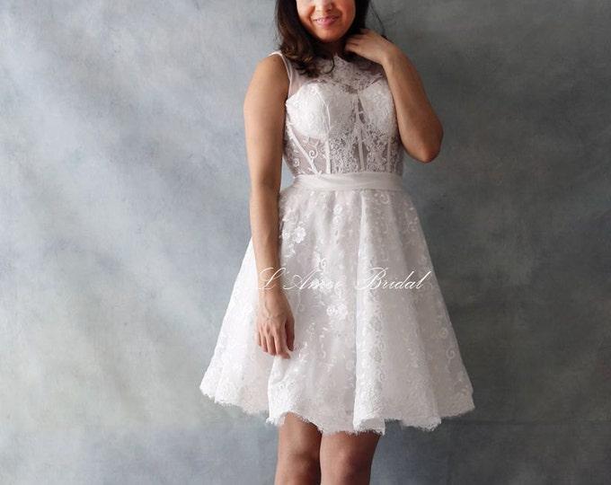 Custom Short wedding dress,Knee Length bridal dress, A-line lace Wedding Dress ,Bohemian Style, Keyhole Back wedding dress - AM1939951