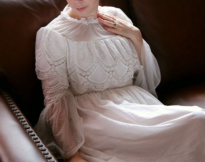 Light Weight Ivory White Illusion High Neck  Long Sleeve Cotton Wedding Dress with Delicate Floral Lace on Polka Dot Tulle