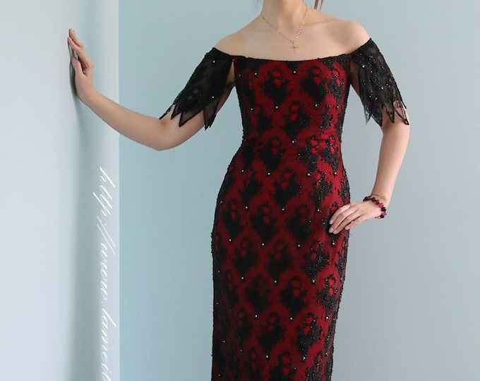 Long Vampire Dynasty Gorgeous Elegant Formal Hand beaded Off Shoulder Red and Black Prom Wedding Bridesmaid Dress Suitable for Party