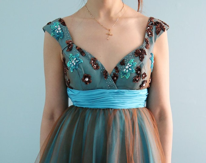 CLEARANCE - Short Knee Length Aqua Blue Prom Graduation or Cocktail Dress with Tulle Shawl