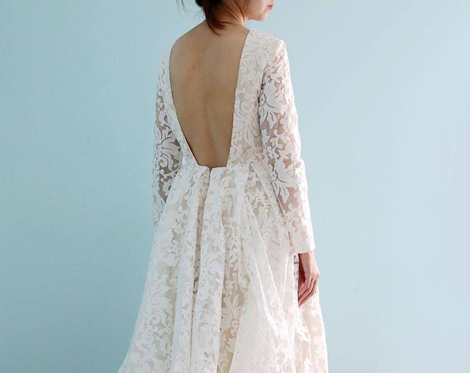 Long sleeve White Lace Dress, Tea length Front Long Back wedding  Dress, Ivory White Lace Bude wedding party lace dress-L'Amei 2018