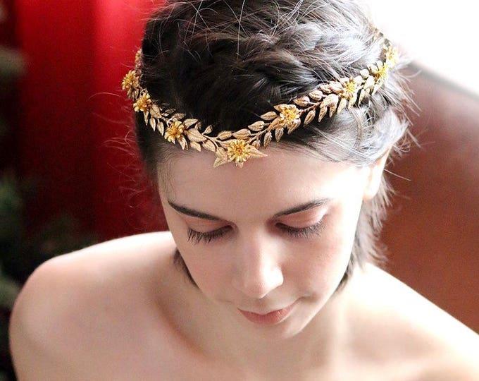 Woodland Queen Gold Wedding crown, Bridal Tiara,wedding Headpiece with gold leaf ,Bridal leaf crown ,Bridal hair vine - Greek hair accessory