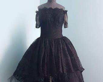 Off-Shoulder Short Front Long Back Black Lace Wedding Dress. Perfect for the Dancing Bride