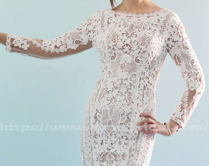 Amazing Handmade Long Sleeve Embroidered French Lace Wedding Dress with Bateau Neckline Low  Back and Court Length Train - LAmei 2018