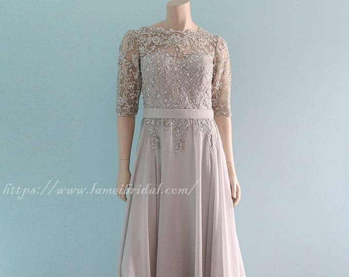 Romantic Boho Modified Floor length A-Line Chiffon Beaded Lace Wedding Dress with Open V-back and 1/2 Sleeves - Mother of bride ,prom dress