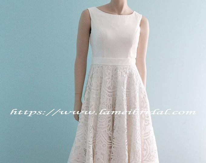 CLEARANCE - Custom Tea length low back battenburg lace wedding dress - Alice in the Garden - Handmade cotton wedding gown -AM 19865019
