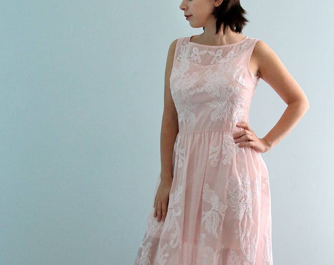 CLEARANCE - Soft Blush color scoop neckline Elegant Romantic Woodland  Wedding Dress Featuring Embroidered Cotton Organza