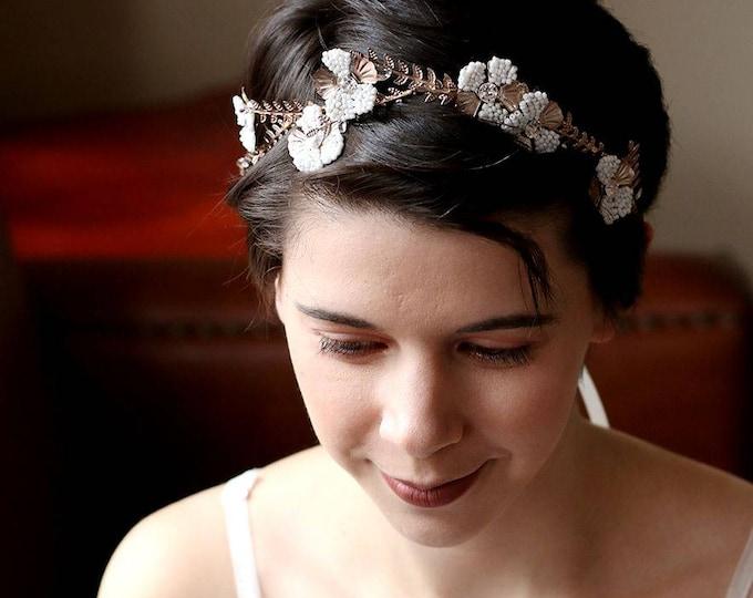 High quality -Woodland Queen Light coffee Golden Wedding crown, Flower Bridal Tiara, Bride Headpiece Ivory beaded Gold Flower