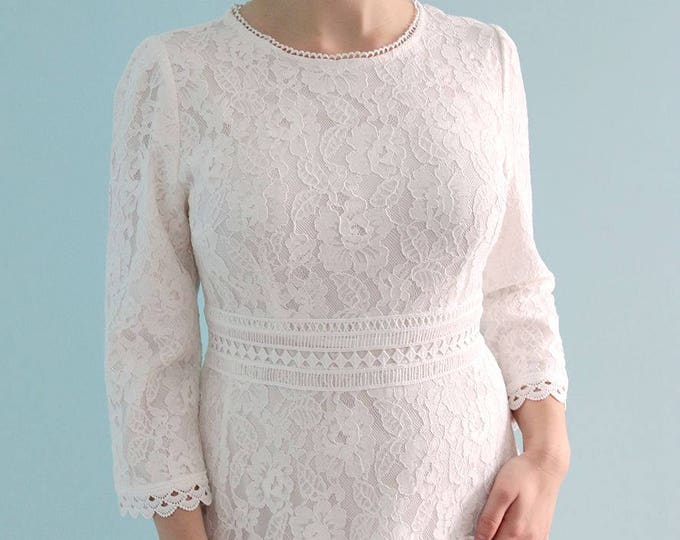 CLEARANCE - Tea Length Lace Wedding Party Dress with Short Liner Long Sleeves and Jewel Neckline. Elizabeth 2018 by L'Amei
