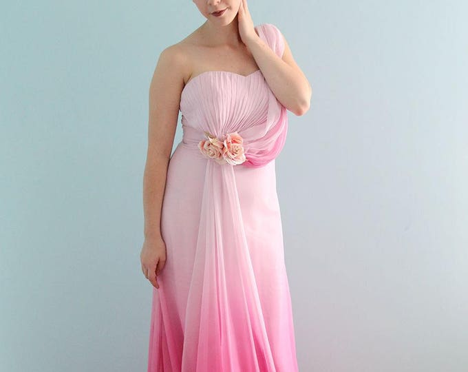 Clearance Single Shoulder Gradient Pink Floor Length Silk Chiffon Prom Graduation Bridesmaid or Formal Evening Dress comes with Rose Flower