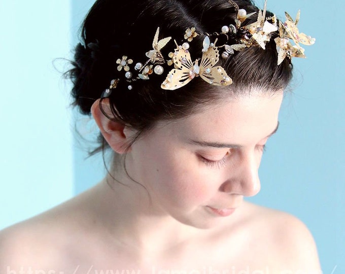 Gold butterfly Wedding, Crown Black hair vine with Flowers and butterfly,Small Flowers headband, Black wedding dresss Hair accessories