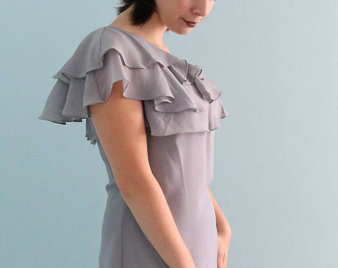 Beautiful High Quality Knee Length Single Strap Prom or Mother of the Bride Dress in Light Grey