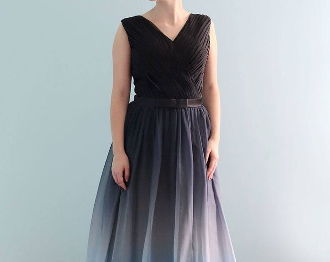 Black and Blue Floor Length Gradient Silk Chiffon V Neck Dress for Mother of the Bride Prom Graduation or Bridesmaid Evening Dress