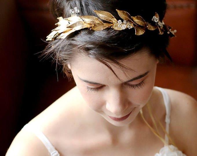 Woodland Queen Golden Wedding Bridal Tiara,wedding Headpiece with gold leaf ,Bridal leaf crown ,Bridal headpiece - Greek hair accessory