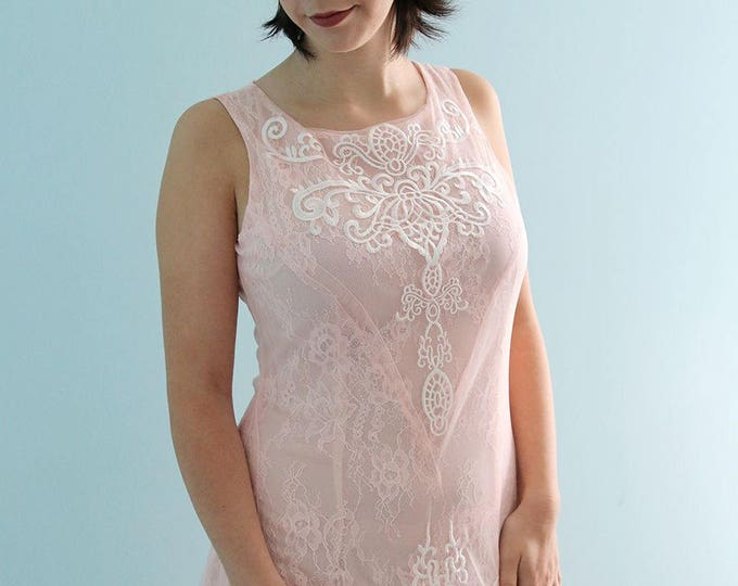 CLEARANCE - Elegant Romantic Woodland Soft Blush scoop neckline Wedding Dress Featuring Embroidered Tulle and lace - US 8 ready to ship