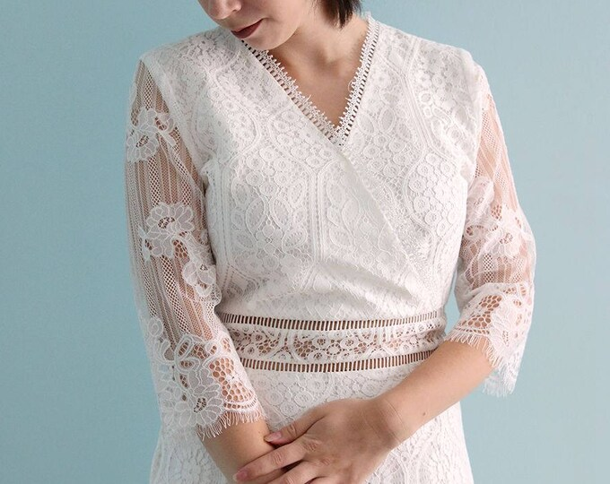 Simple Empire Waist Boho White Lace Wedding Dress great for at the Beach or in the Country, V neck and see thourgh belt white lace Dress