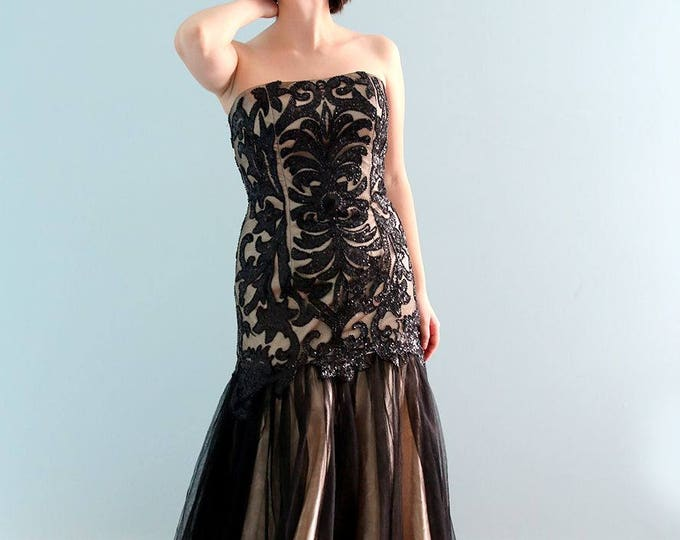 Clearance-Stunning Floor Length Strapless Black Sequin Evening dress, Black  Prom Graduation Sheath Dress  Black Swan Black lace long dress