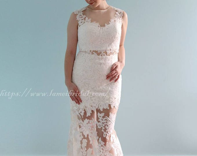 Stunning Modern Lace Trumpet with Illusion Neckline and Sexy Illusion Cut-Outs and Skirt -L'amei 2018