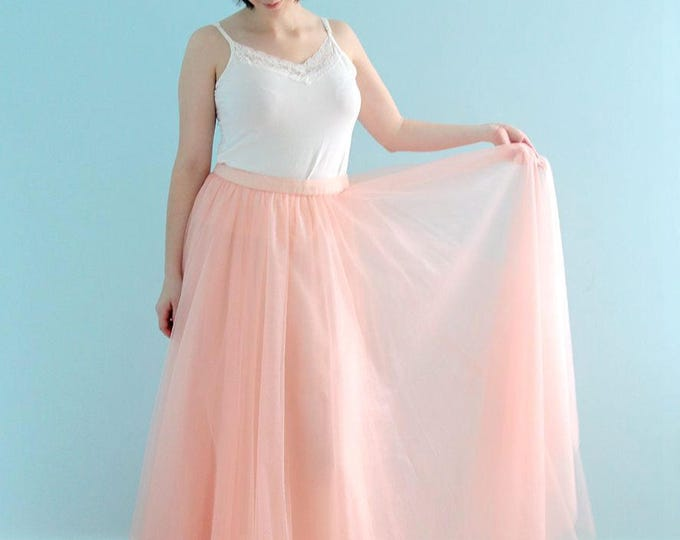 Skirt Only! Hand Made Rustic Floor length A-Line Light pink or Ivory white Vintage Tulle Dream Skirt, Simple 4-layer Tulle skirt