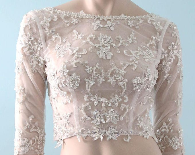 Modern Bride Beaded Silver Lace Super Bling Jeweled 3/4 Sleeves Wedding Bolero With Low Back, Lace bridal Top