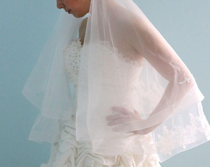 Fingertip Length Cathedral  Double Tulle and lace  Bridal Wedding Veil- Ready to ship ,bridal lace Veil with comb