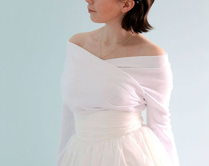 Pure White Off Shoulder Long Sleeved Bridal Wedding Top. Accessorize for any Occasion-L'Amei Bridal 2018