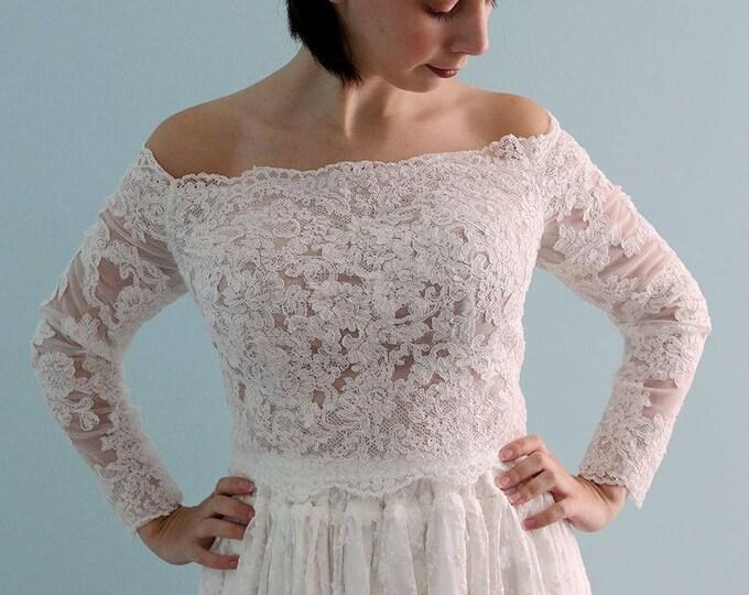 Amazing Romantic 3/4 Sleeve Full Front  Lace Wedding Bolero Top Jacket French lace