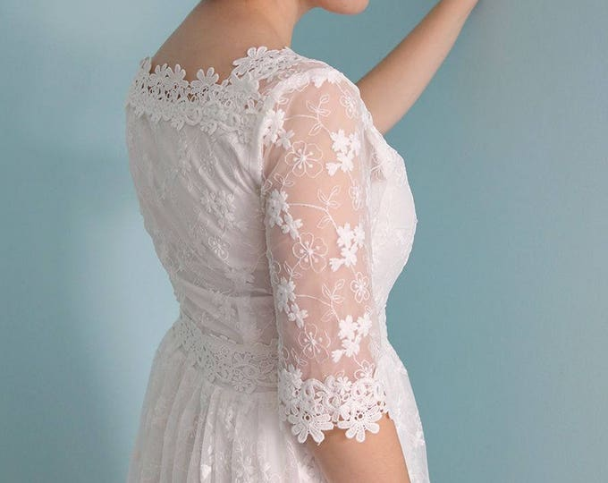CLEARANCE - Handmade Ivory White Lace 1/2 Sleeve Ankle Length A-Line Wedding Dress with Lace Square Neckline