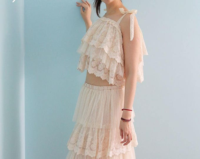 Cream Boho Wedding dress, 2 Piece Bridal lace dress, Floor length A-Line Lace Beach wedding dress, Alternative Long wedding dress, plus size