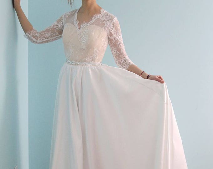 Dreamy Open V neck Romantic Custom made Long Sleeved soft Lace Wedding Dress Princess wedding gown - L'Amei 2016