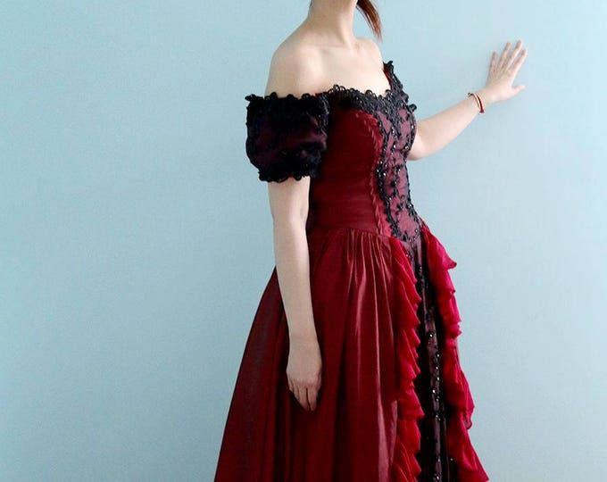 Red and Black Gothic Princess Corset Wedding Gown with Red Hooded Cape A-line Burlesque - L'Amei 2017
