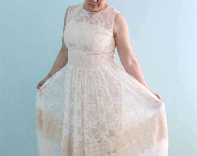 Custom made Alice in the Garden Elegant Cream Colored Long Lace Wedding Dress, Lace beach wedding dress