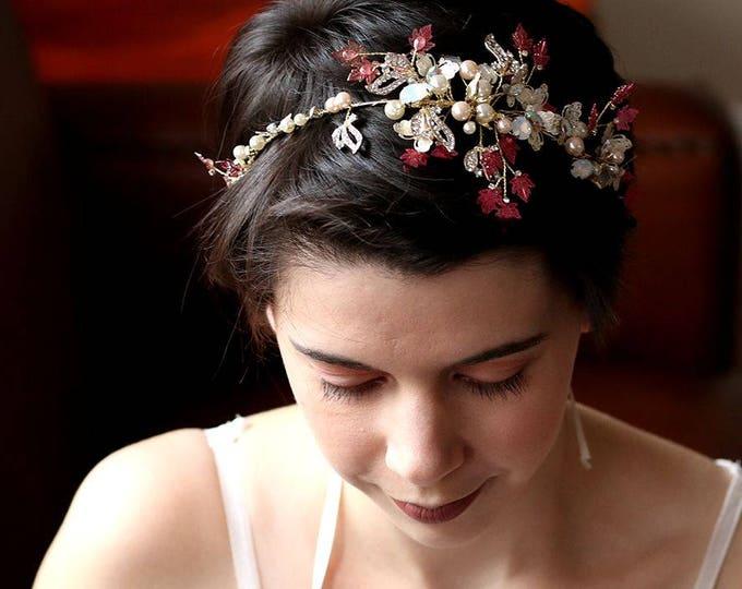 SALE-Bridal boho Small Maple Leaf crown, floral bridal headdress, Gold wedding flower vine, bridal Leaf forehead crown, boho bridal headband