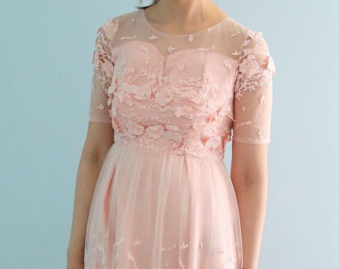 Clearance—Blush Soft  Lace Short Tea/ Knee Length Dress for Cocktail Party Prom or Wedding Party. Also Suitable for Bridesmaids