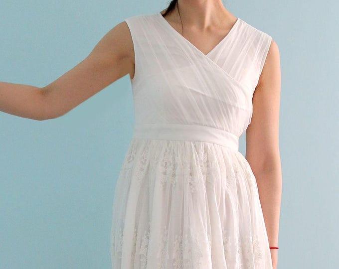 CLEARANCE - US8-Custom Made Unique Crisscross Pleated Non-Traditional Tea length Wedding Dress, Knee length white lave wedding dress