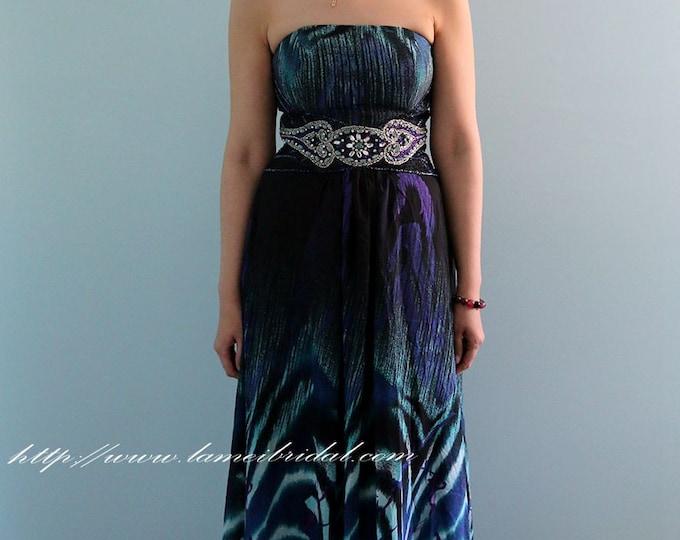 CLEARANCE - Long Rippling Wave Print Strapless dress,  Sheath Formal Long Prom dress, Blue Bridesmaid Honeymoon Dress