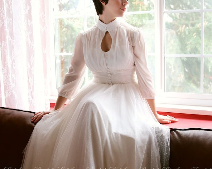 Romantic High Neck Long Sleeve Soft Lace Wedding Dress with Fitted Waist, Beautiful high neck  Polka Dot wedding dress-L'Amei 2017