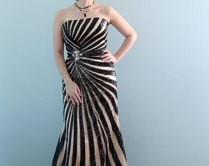 Clearance-Stunning Floor Length Strapless Black Sequin Prom Graduation or Evening Dress with Short Train - Black Swan