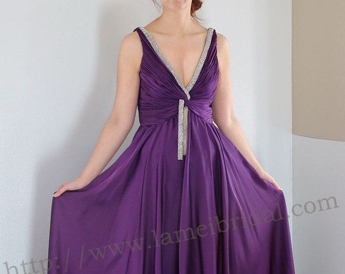 Elegant Gorgeous purple silk Chiffon Deep V Wedding party Dress, Long Chiffon Womens Party dress, Maxi dress, Prom dress Floor length L'Amei