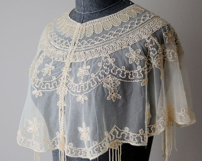 Chic Champagne Tulle Capelet Bridal Shaw Cape Accented with Beading, vintage style  bridal shaw, Ready to ship